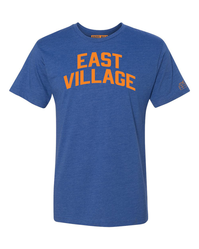 Blue East Village T-shirt with Knicks Orange Letters