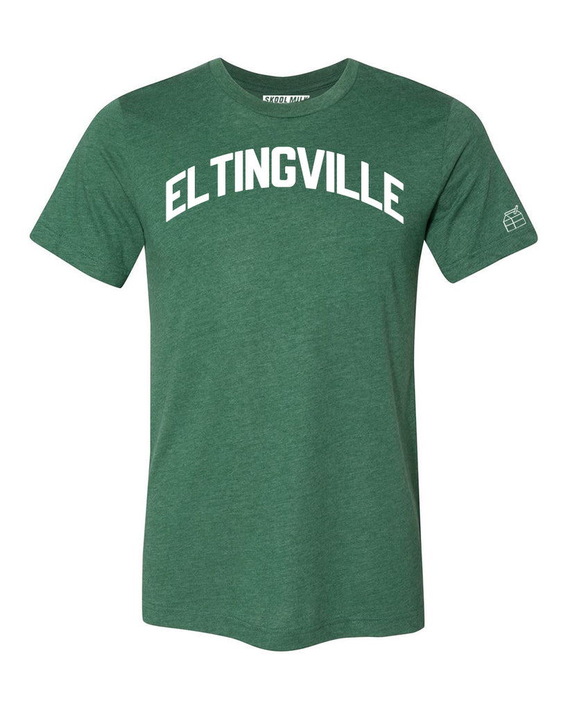 Green Eltingville T-shirt with White Reflective Letters