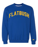 Blue Flatbush Sweatshirt with Yellow Reflective Letters