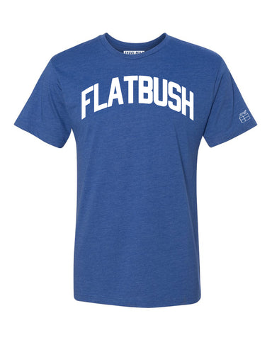 Blue Flatbush T-shirt with White Reflective Letters