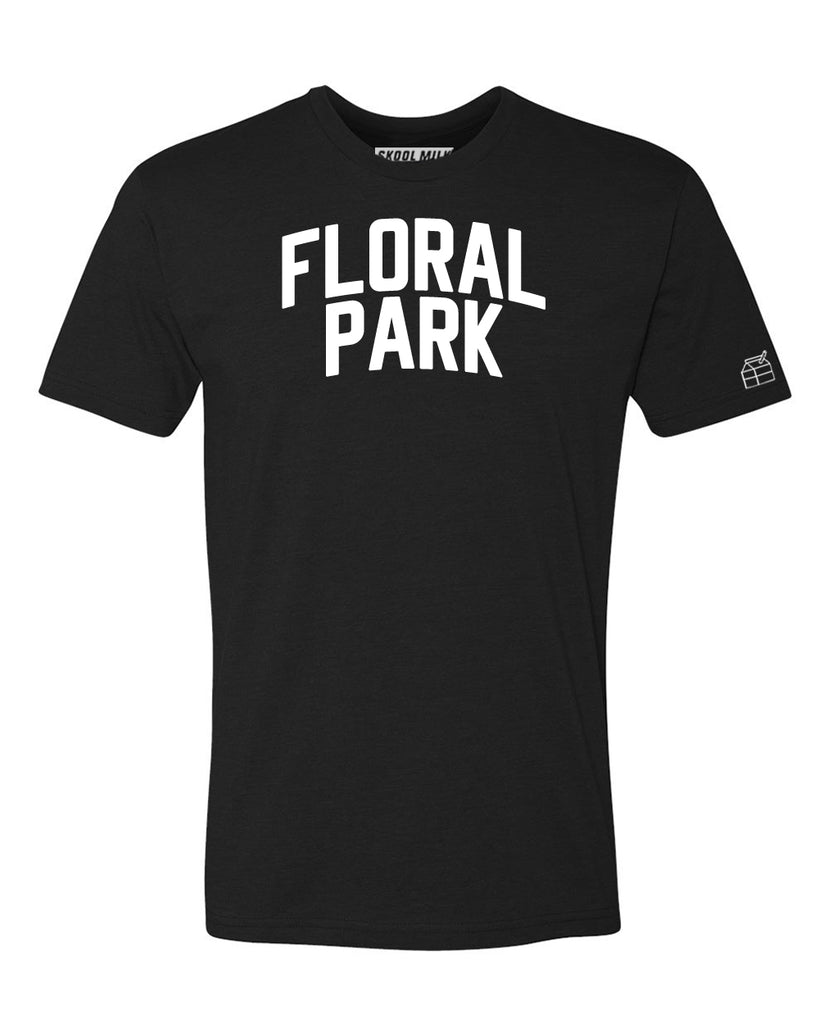 Black Floral Park T-shirt with White Reflective Letters