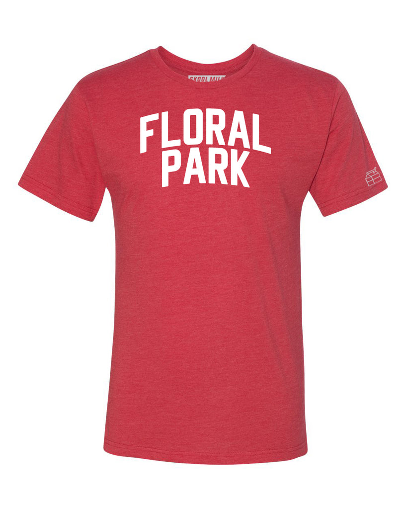 Red Floral Park T-shirt with White Reflective Letters