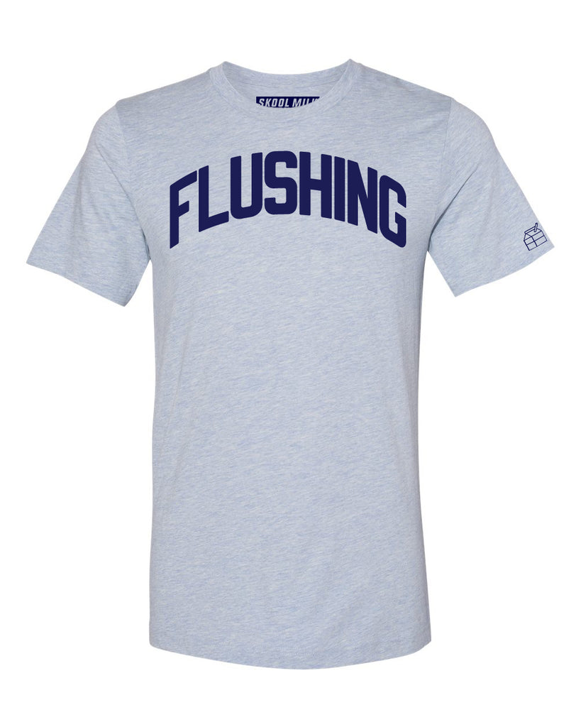 Sky Blue Flushing T-shirt with Blue Letters