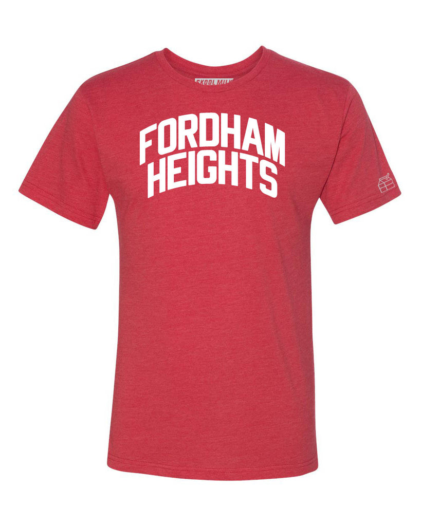 Red Fordham Heights T-shirt with White Reflective Letters