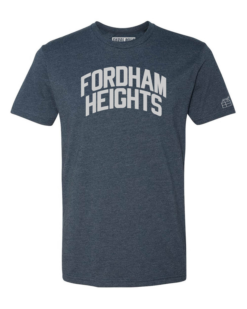 Navy Blue Fordham Heights T-Shirt with Silver Letters