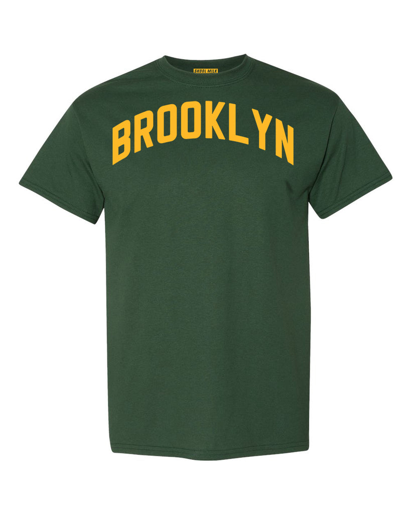 Forest-Green Brooklyn T-shirt with Yellow Reflective Letters #Avocado