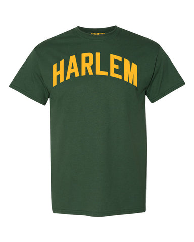 Forest-Green Harlem T-shirt with Yellow Reflective Letters #Avocado
