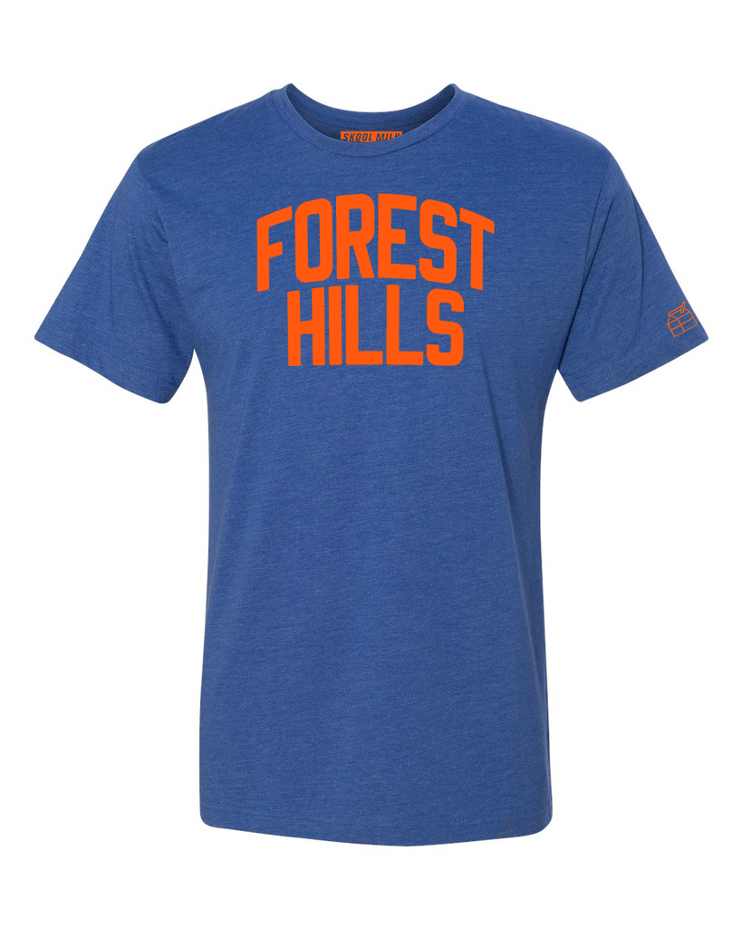 Blue Forest Hills T-shirt with Knicks Orange Letters