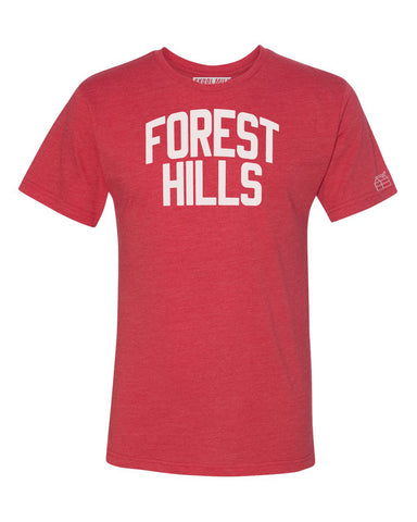 Red Forest Hills T-shirt with White Reflective Letters