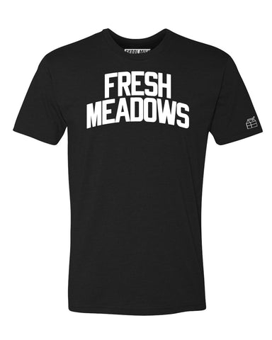 Black Fresh Meadows T-shirt with White Refkective Letters
