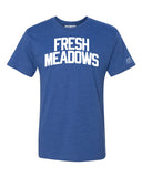 Blue Fresh Meadows T-shirt with White Reflective Letters