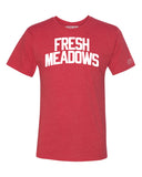 Red Fresh Meadows T-shirt with White Reflective Letters