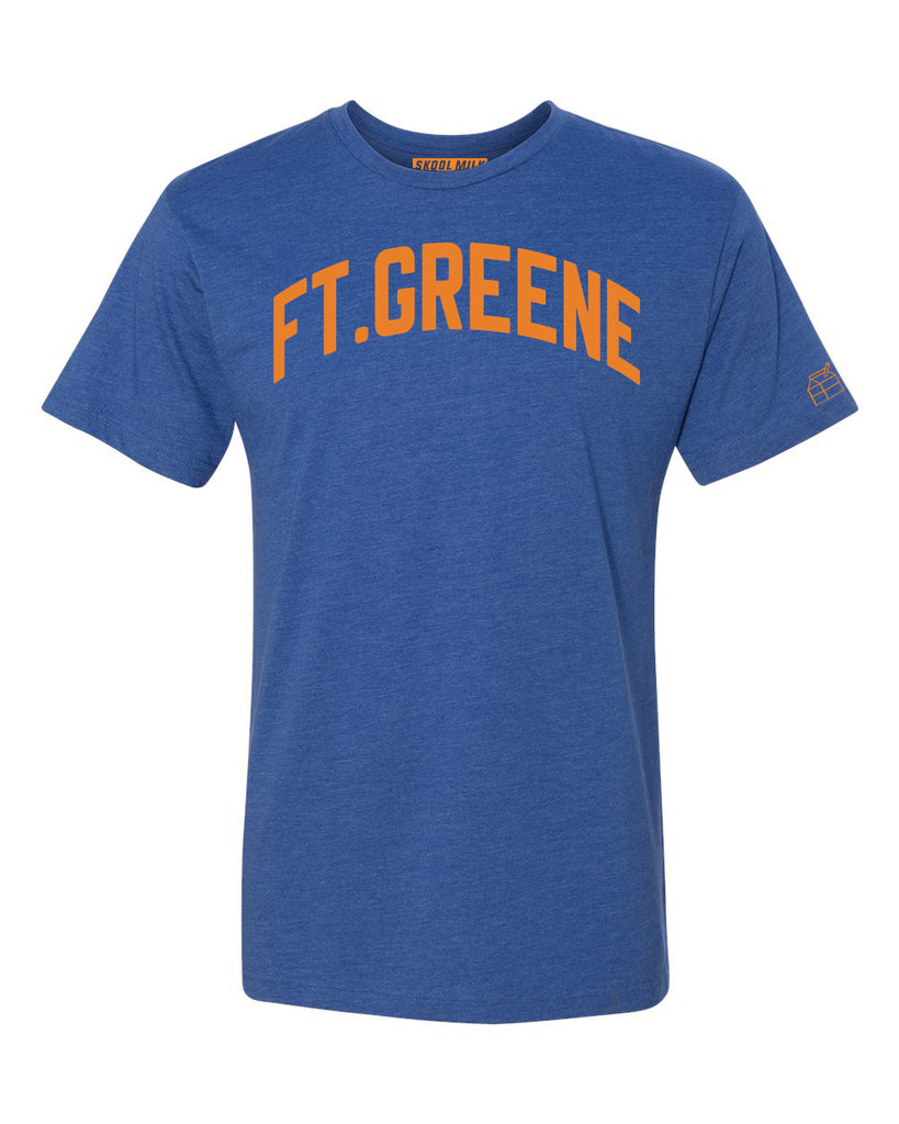 Blue Ft.Greene T-shirt with Knicks Orange Letters