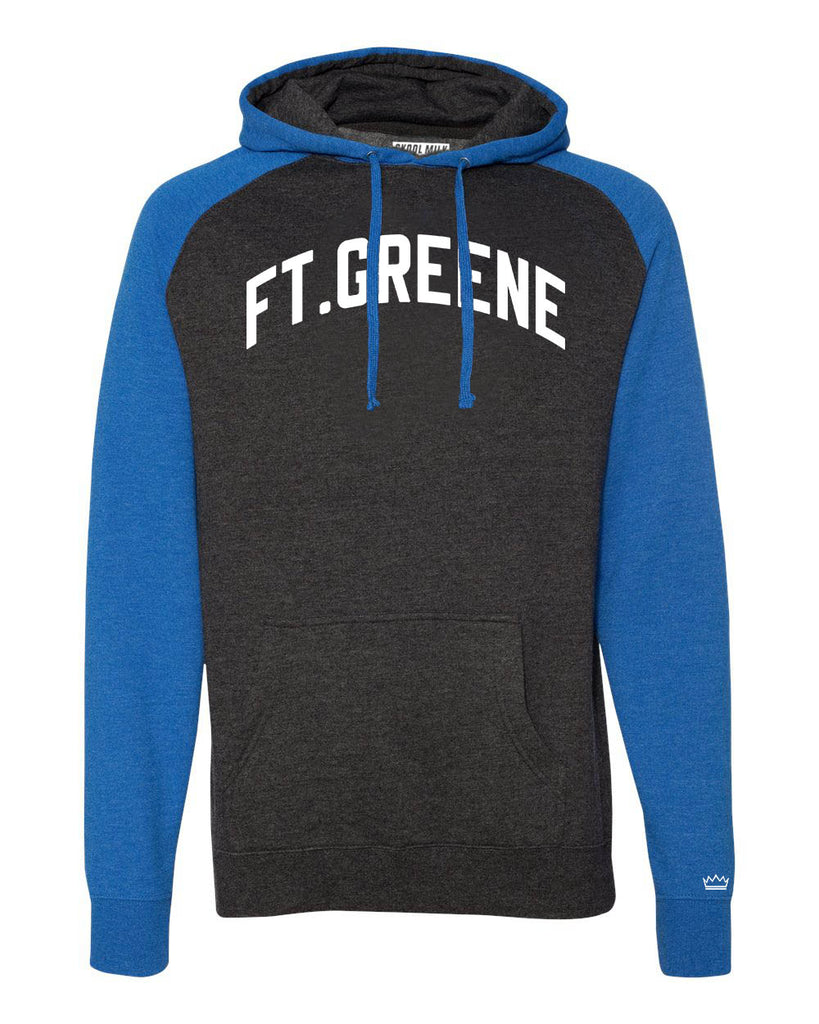 Blue/Grey Ft. Greene Brooklyn Raglan Hoodie w/ White Reflective Letters