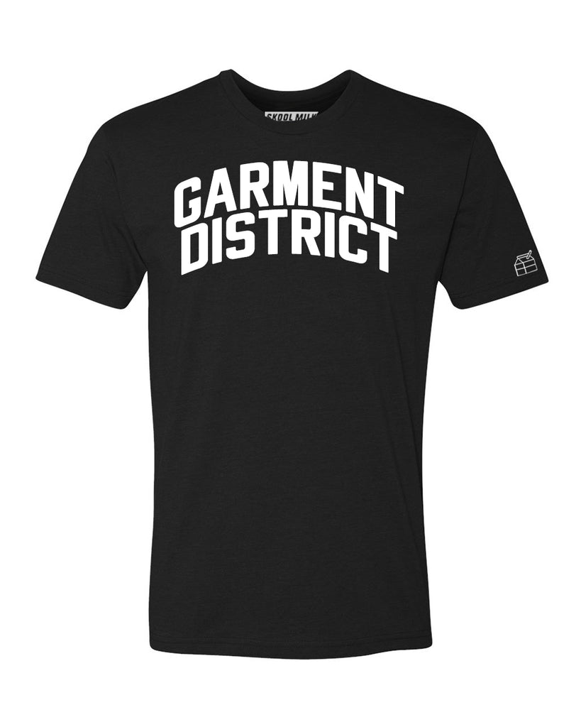 Black Garment District  T-shirt with White Reflective Letters