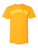 Gold Brooklyn T-shirt with Yellow Reflective Letters
