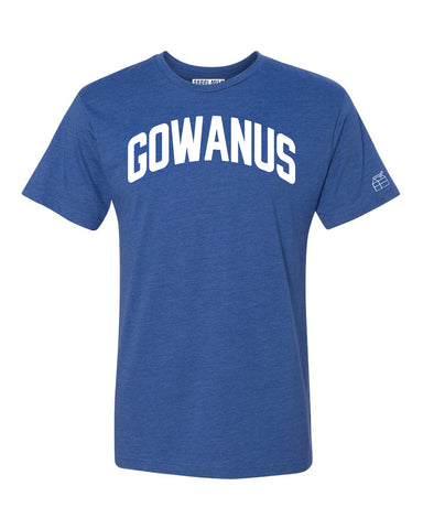 Blue Gowanus T-shirt with White Reflective Letters