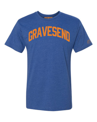 Blue Gravesend T-shirt with Knicks Orange  Letters