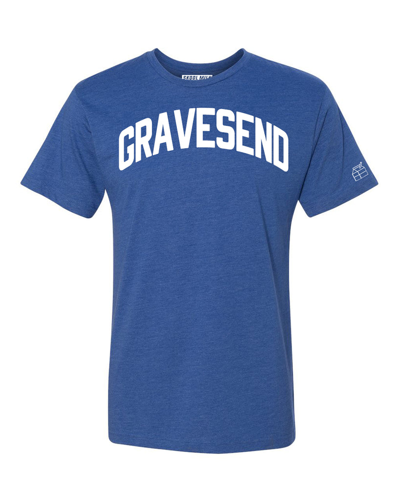 Blue Gravesend T-shirt with White Reflective  Letters