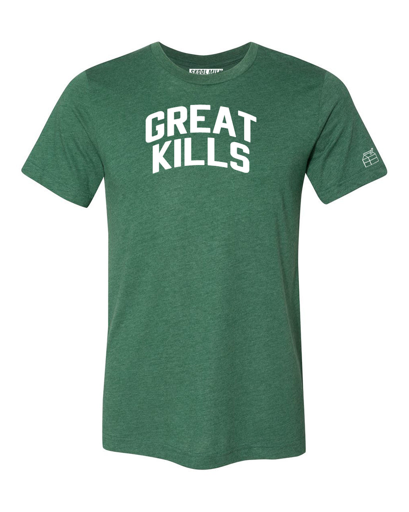 Green Great Kills T-shirt with White Reflective Letters