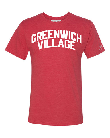 Red Greenwich Village T-shirt with White Reflective Letters