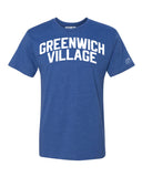 Blue Greenwich Village T-shirt with White Reflective Letters