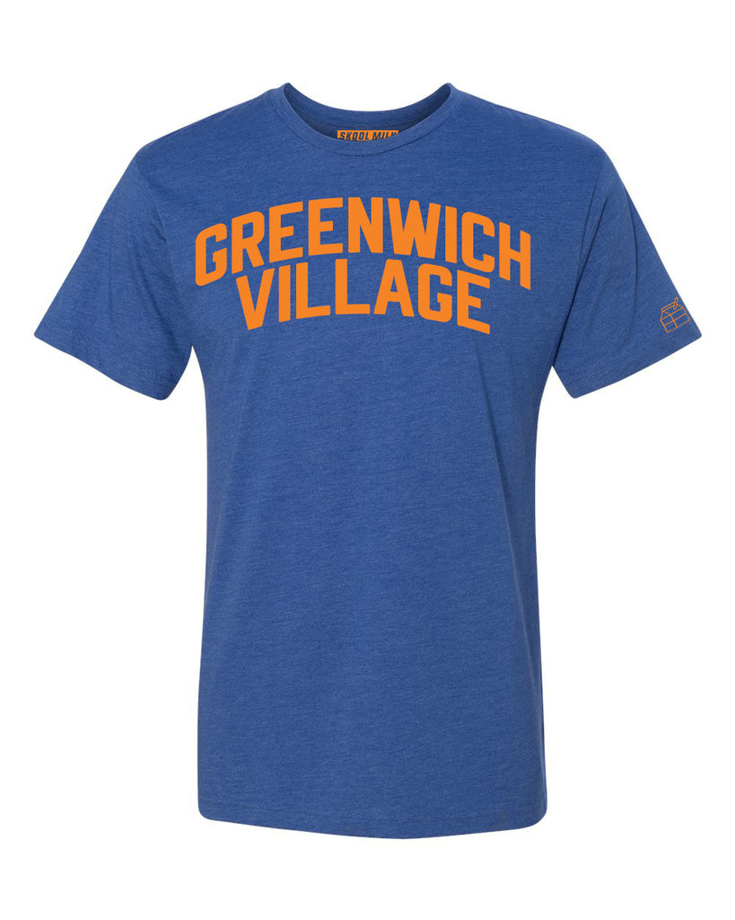 Blue Greenwich Village T-shirt with Knicks Orange Letters