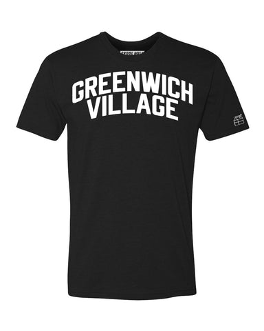 Black Greenwich Village T-shirt with White Reflective Letters