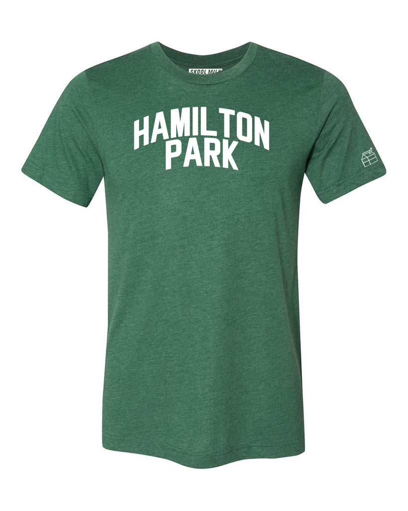 Green Hamilton Park T-shirt with White Reflective Letters