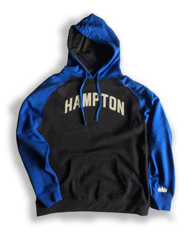 Hampton Royal Blue and Grey Hoodie with White Reflective Lettering