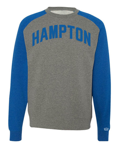 Grey Hampton Raglan Sweatshirt w/ Blue Sleeves and Lettering