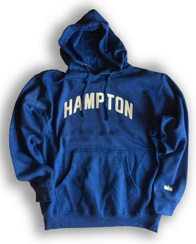 Hampton Blue Hoodie with White Reflective Lettering