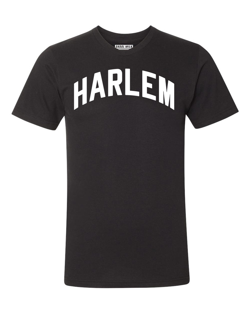 Black Harlem T-shirt with White Reflective Letters