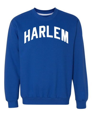 Blue Harlem Sweatshirt with White Reflective Letters