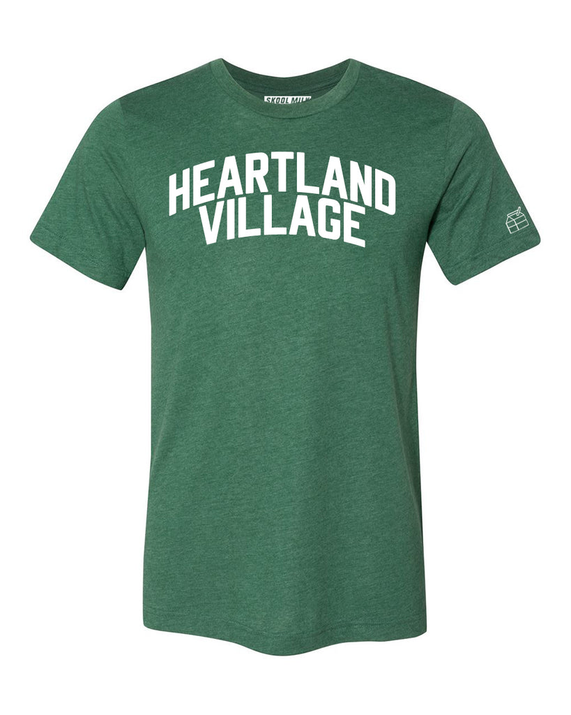 Green Heartland Village T-shirt with White Letters