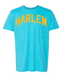 Aqua-Blue Harlem T-shirt with Yellow Reflective Letters #BlueHawaiian