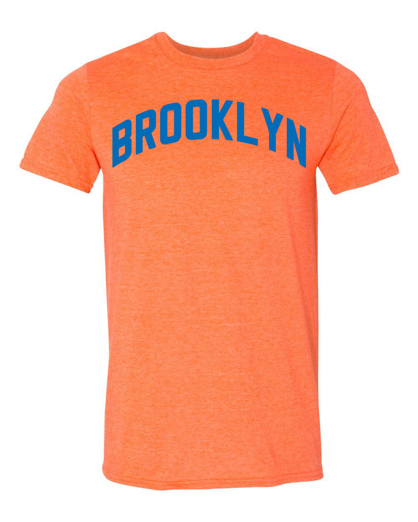 Brooklyn Heather Orange T-shirt with NY Knicks Blue Reflective Letters