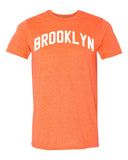 Brooklyn Heather Orange T-shirt with White Reflective Letters