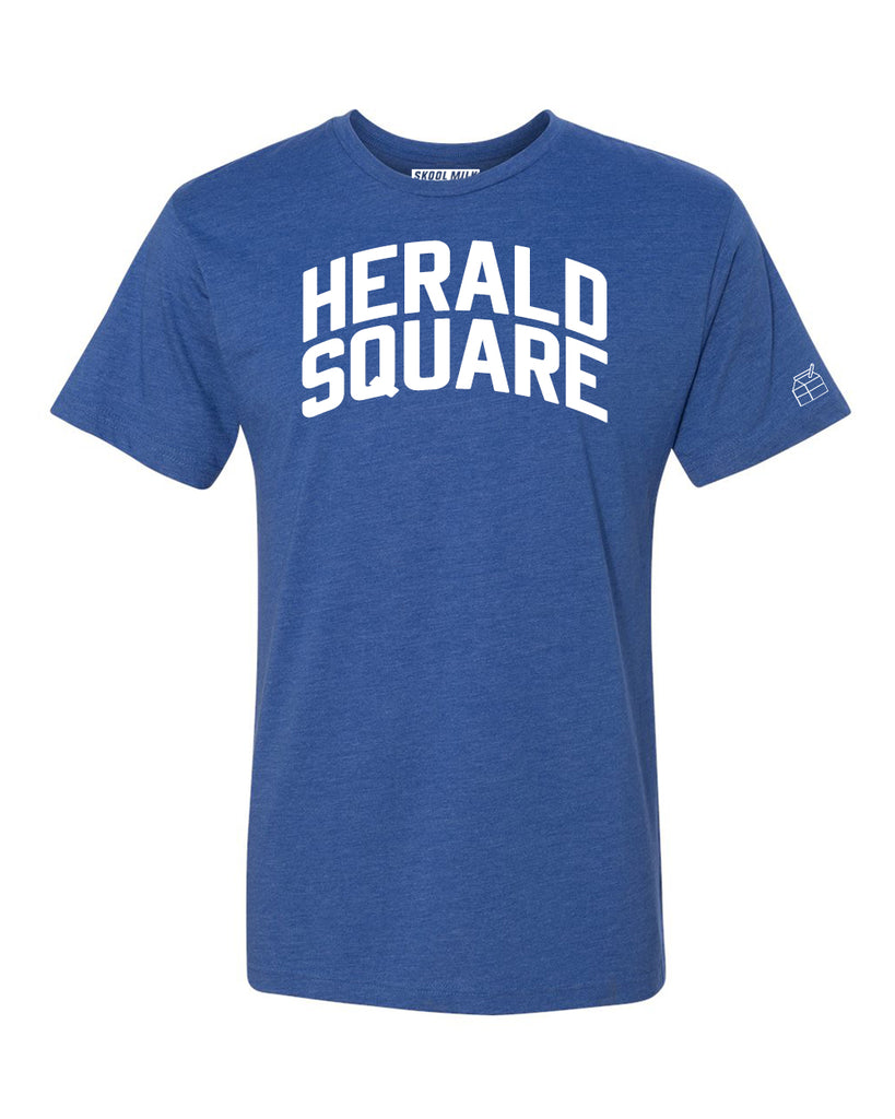 Blue Herald Square T-shirt with White Reflective Letters