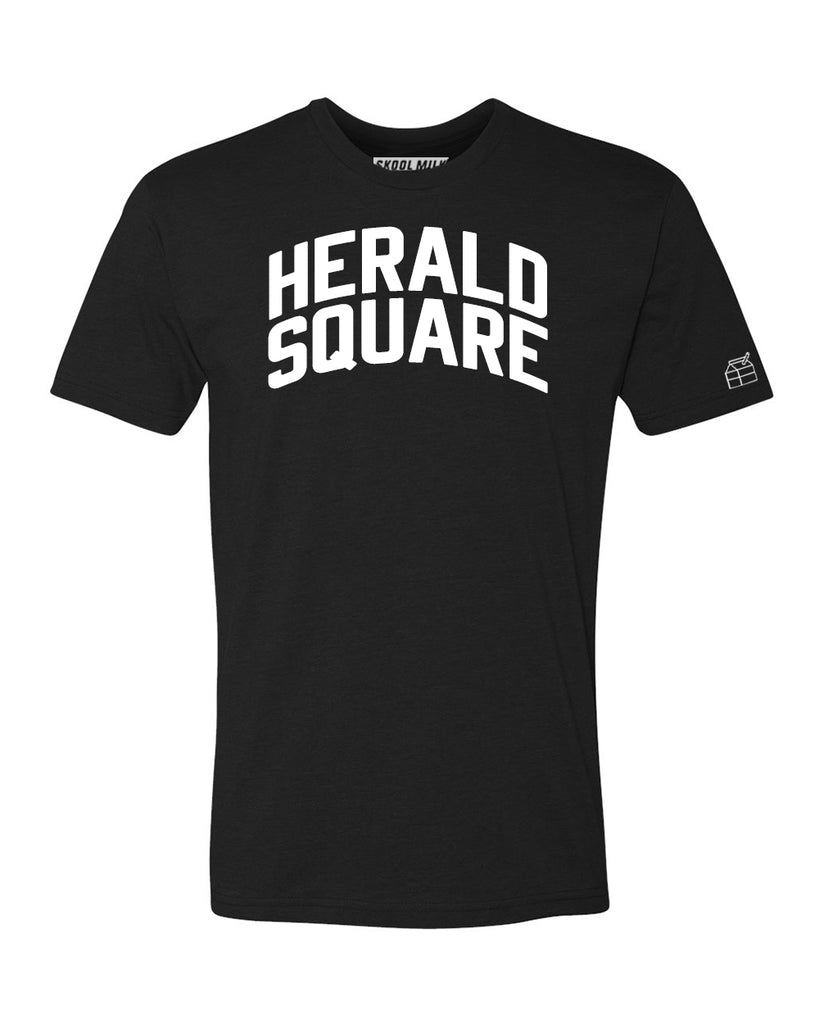 Black Herald Square T-shirt with White Reflective Letters
