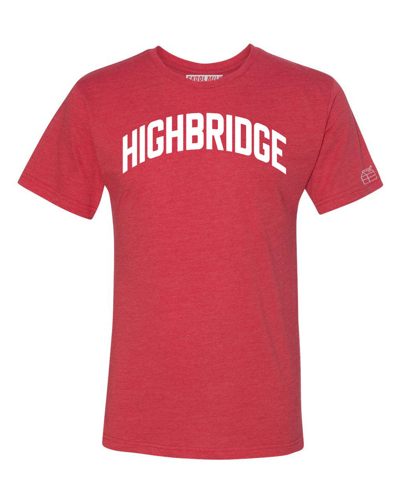 Red Highbridge T-shirt with White Reflective Letters