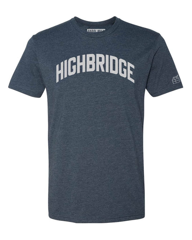 Navy Blue Highbridge T-Shirt with Silver Letters