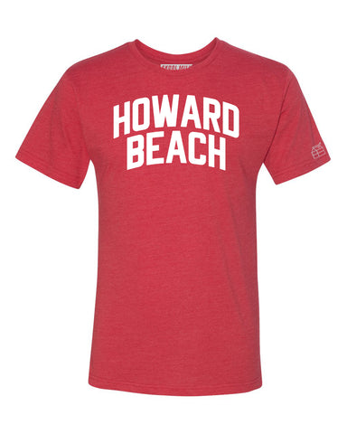 Red Howard Beach T-shirt with White Reflective Letters