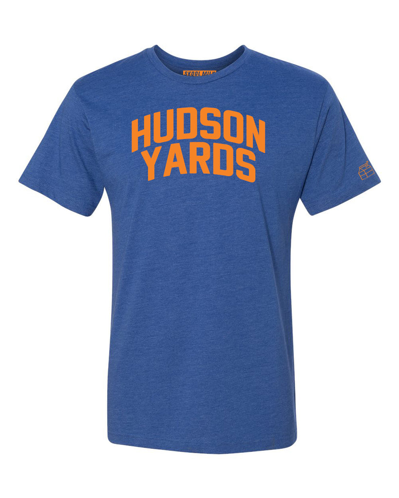 Blue Hudson Yards T-shirt with Knicks Orange Letters