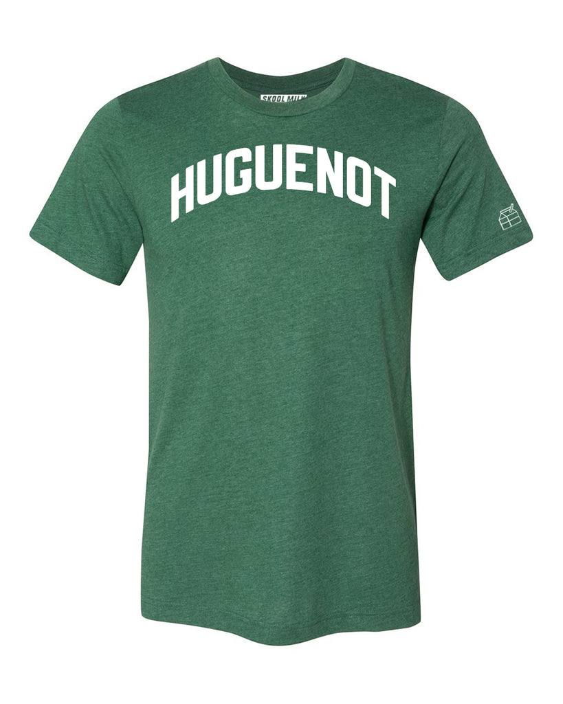 Green Huguenot T-shirt with White Reflective Letters