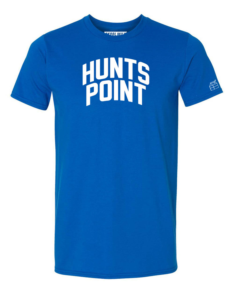 Blue Hunts Point Heights T-shirt with White Reflective Letters