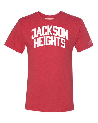 Red Jackson Heights T-shirt with White Reflective Letters