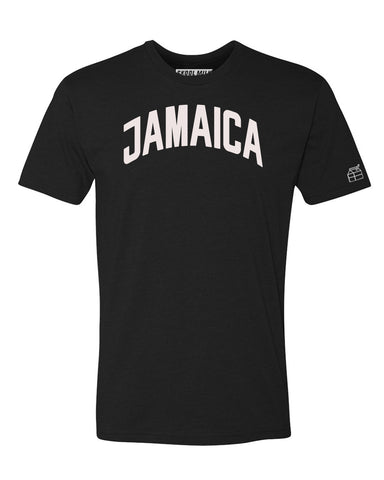 Black Jamaica T-shirt with White Reflective Letters