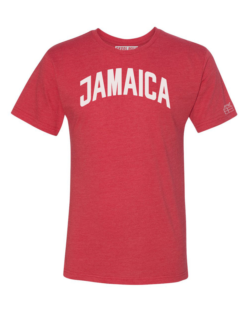 Red Jamaica T-shirt with White Reflective Letters
