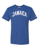 Blue Jamaica T-shirt with White Reflective Letters